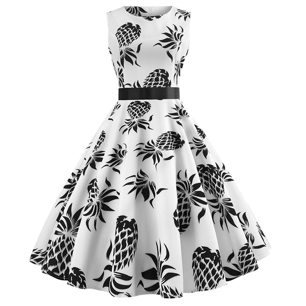 Vintage Floral Dress for Women Sleeveless O Neck Evening Printing Party Prom Swing Dress White 2XL