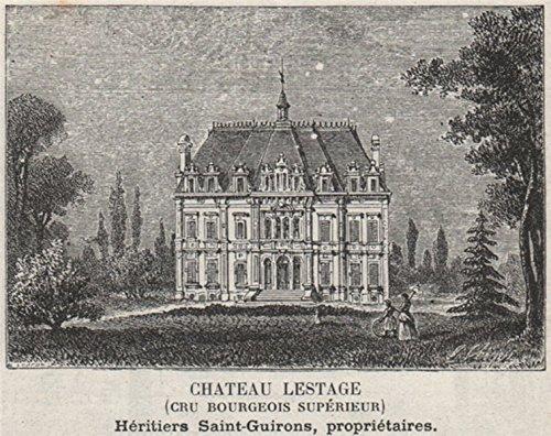 MÉDOC. LISTRAC. Chateau Lestage (Cru Bourgeois Supérieur). Bordeaux. SMALL - 1908 - old print - antique print - vintage print - Gironde art prints