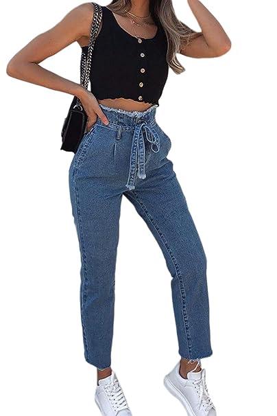 Zonsaoja Pantalones Vaqueros de Mujer Pantalones de ...