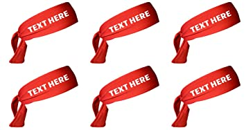 Set of 6 Wholesale Bulk Tie Back Sport Headbands with Your Custom Text (RED) 628745d3694