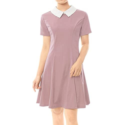 Womens Contrast Doll Collar Short Sleeves Above Knee Flare Dress