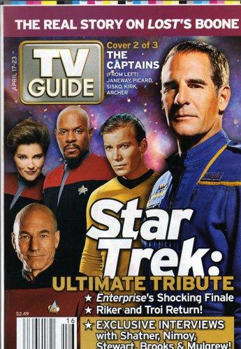 Download Star Trek Captains Cover TV Guide Magazine April 17-23, 2005 - Kathryn Janeway, Benjamin Sisko, James T. Kirk, Jonathan Archer, Jean Luc Picard PDF
