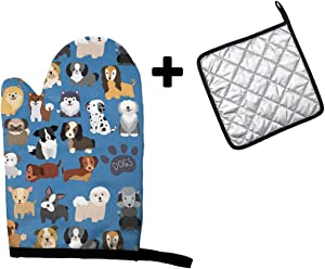 MSGUIDE Cute Dog Pug Oven Mitt and Pot Holder Heat Resistant Oven Glove for Kitchen Cooking Baking, BBQ, Grilling