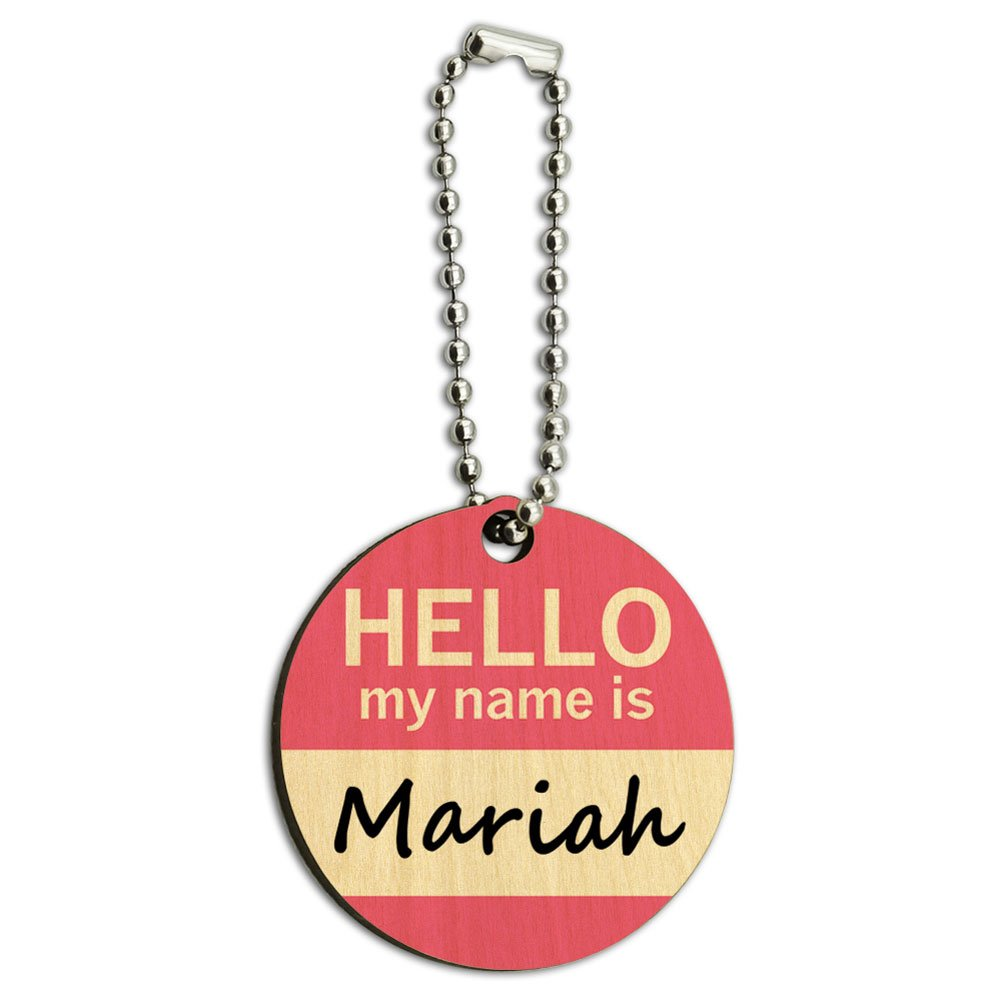 Mariah Hello My Name Is Wood Wooden Round Key Chain