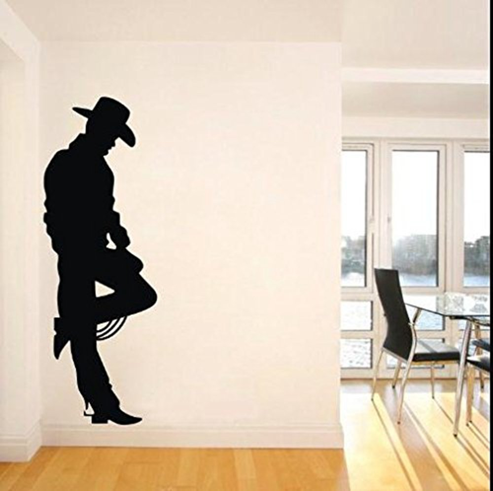 Amazon colorfulhall 63 x 22 black cowboy on the wild west amazon colorfulhall 63 x 22 black cowboy on the wild west frontier western cowboy john wayne wall decal wall sticker removable vinyl mural art home amipublicfo Images