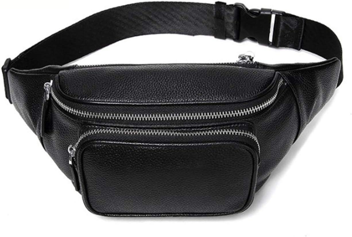 Multifunktionslauf Reiten Outdoor Sports Bag ZHANGYANTY M/änner G/ürtelholster Bag Boy echtes Leder H/üfttasche Crossbody Beutel Color : Black