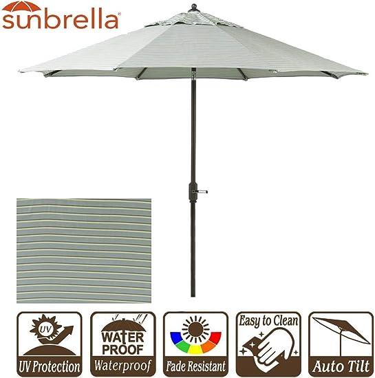 Sunbrella Patio Umbrella 9 Outdoor Umbrella with Crank and Auto Tilt 9 Feet Outdoor Market Table Umbrella Sunbrella Fabric Hardwood Spa Stripe Design 9 Crank Tilt, Spa Stripe
