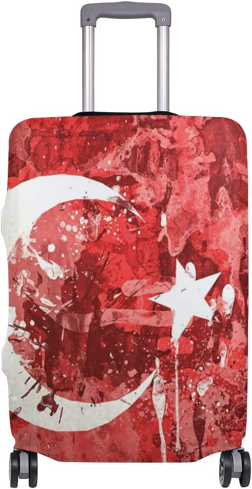 FOLPPLY Turkey Flag Background Luggage Cover Baggage Suitcase Travel Protector Fit for 18-32 Inch