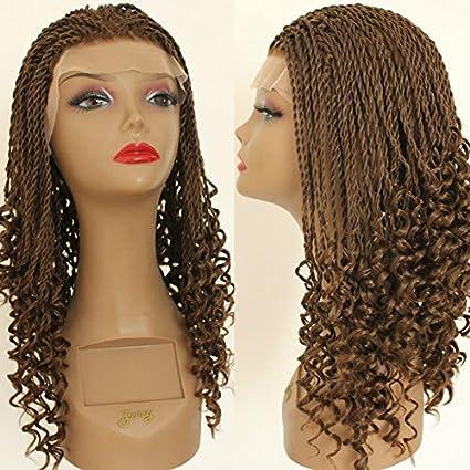 platinumhair nueva llegada marrón trenzado extensiones y pelucas de pelo rizado peluca Lace Front sintético sin