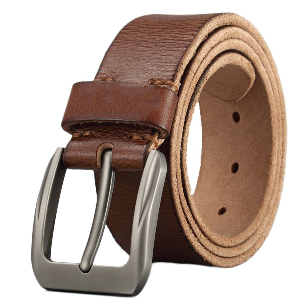 OLHkqhhehbre Leather Belt,Belt Mens Leather Pin Buckle Layer Pure Leather Retro Belt