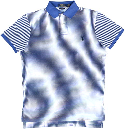 Polo Ralph Lauren Men's Striped Polo Shirt Custom Fit (M, White/Blue) (Ralph Lauren Rugby Striped Shirt)