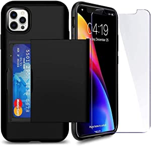 SUPBEC Compatible for iPhone 12 Pro Max Case with Card Holder and[ Screen Protector Tempered Glass x2Pcs][ Protective Series] Shockproof Silicone for iPhone 12 ProMax Wallet Case Cover-Black-6.7