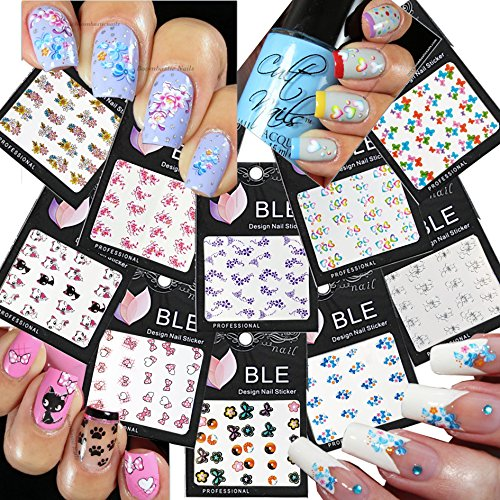 Nail Tattoo Nail (Beautiful Water Nail Tattoo Stickers -Cat, Heart, Flowers, Bows, Butterflies, & More 10- pack by La Demoiselle)