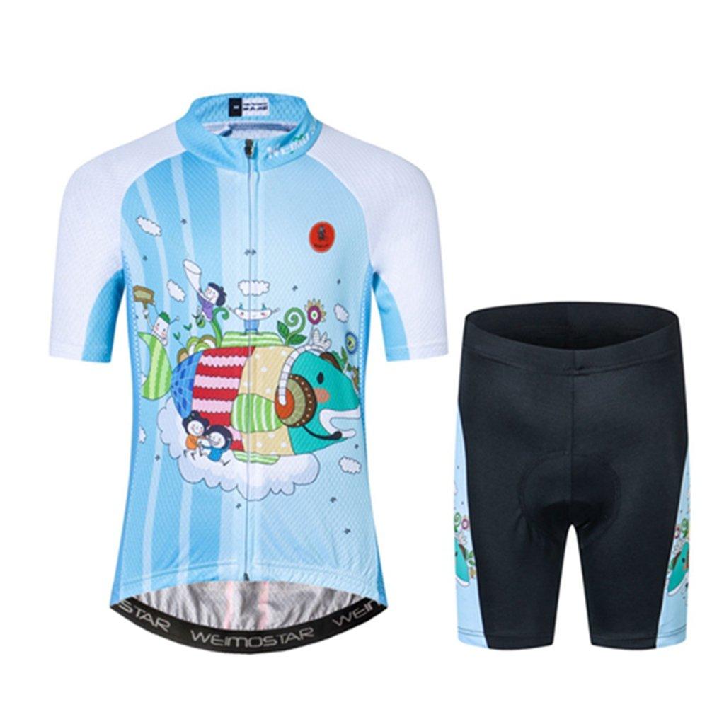 Kids Cycling Jersey Short Set Girls Boys Children Bike Gel Padded Bicycle Short Sleeve Jersey Suit XXL