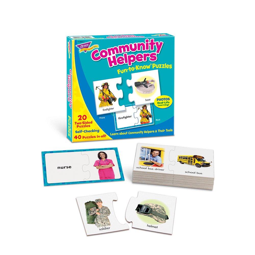 amazon com trend enterprises community helpers fun to know puzzle