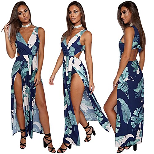 Women's Floral Prints Dresses Side Sexy Long Maxi Slit Navy Dreamparis FwTqdanPd