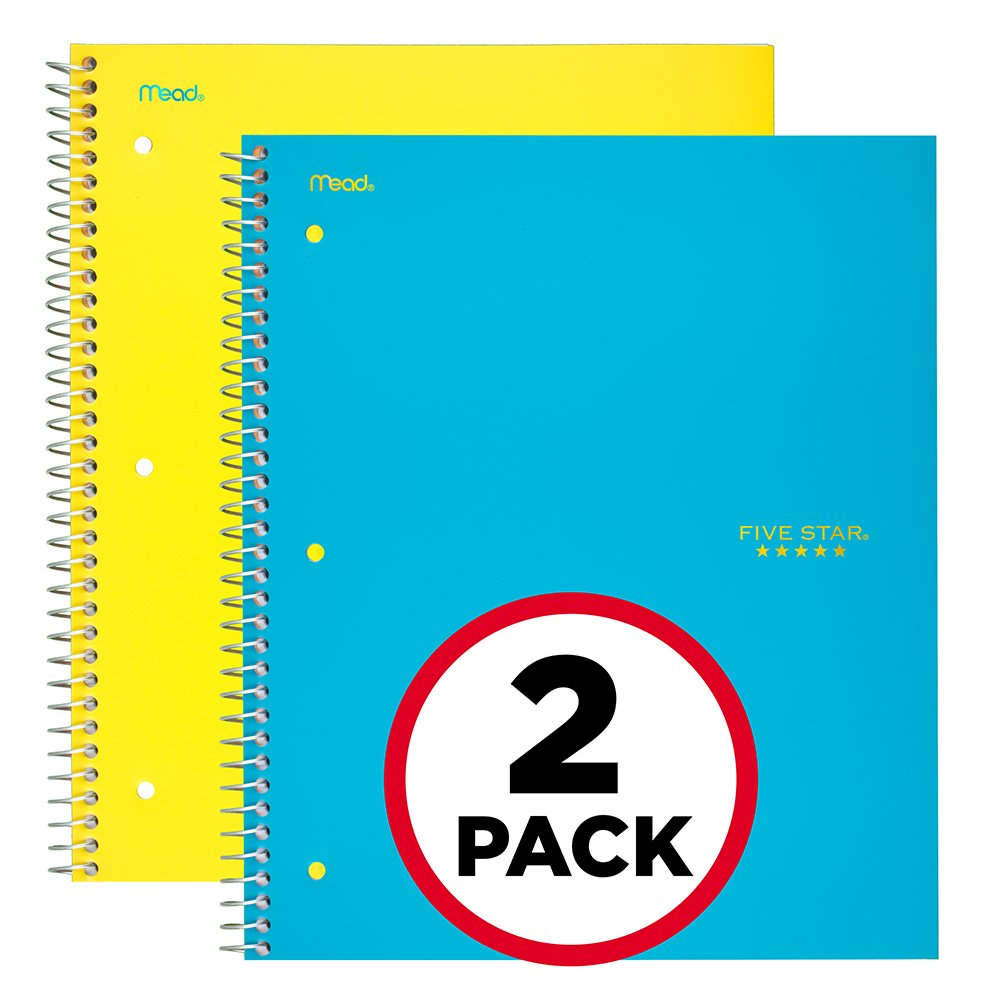 Five Star Spiral Notebooks, 5 Subject, College Ruled Paper, 200 Sheets, 11 x 8-1/2, Assorted Colors, 6 Pack (73793) 11 x 8-1/2 ACCO Brands