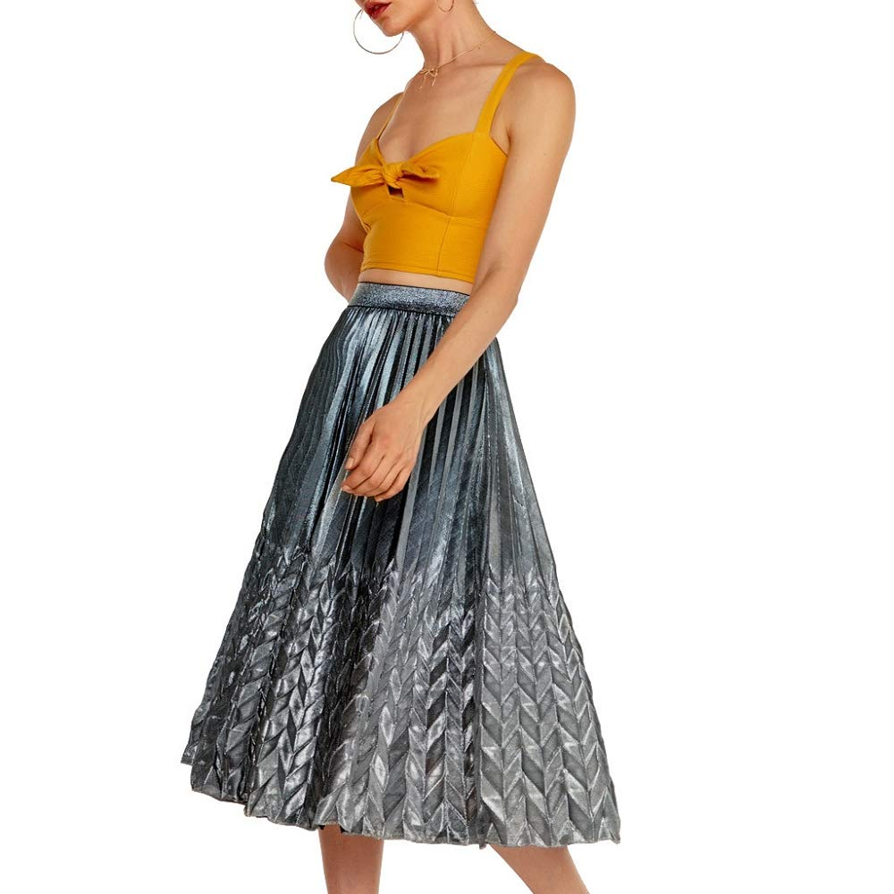 Damen Stickerei Maxirock Sommerrock Hohe Taille Lang Röcke Party Strandrock Mode