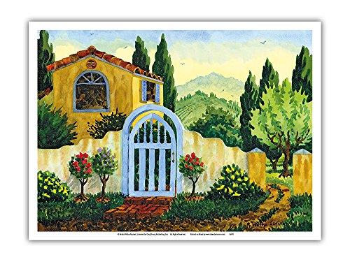 Watercolor Original Painting - Pacifica Island Art Tuscan Homestead - Tuscany Italy - Italian Villa - From an Original Watercolor Painting by Robin Wethe Altman - Master Art Print - 9in x 12in