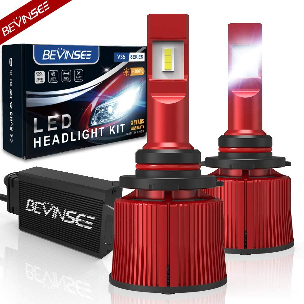Bevinsee 9012//HIR2 LED Headlight White 100W 15000LM Bulbs Kit-VC Cooling Tech,2pcs