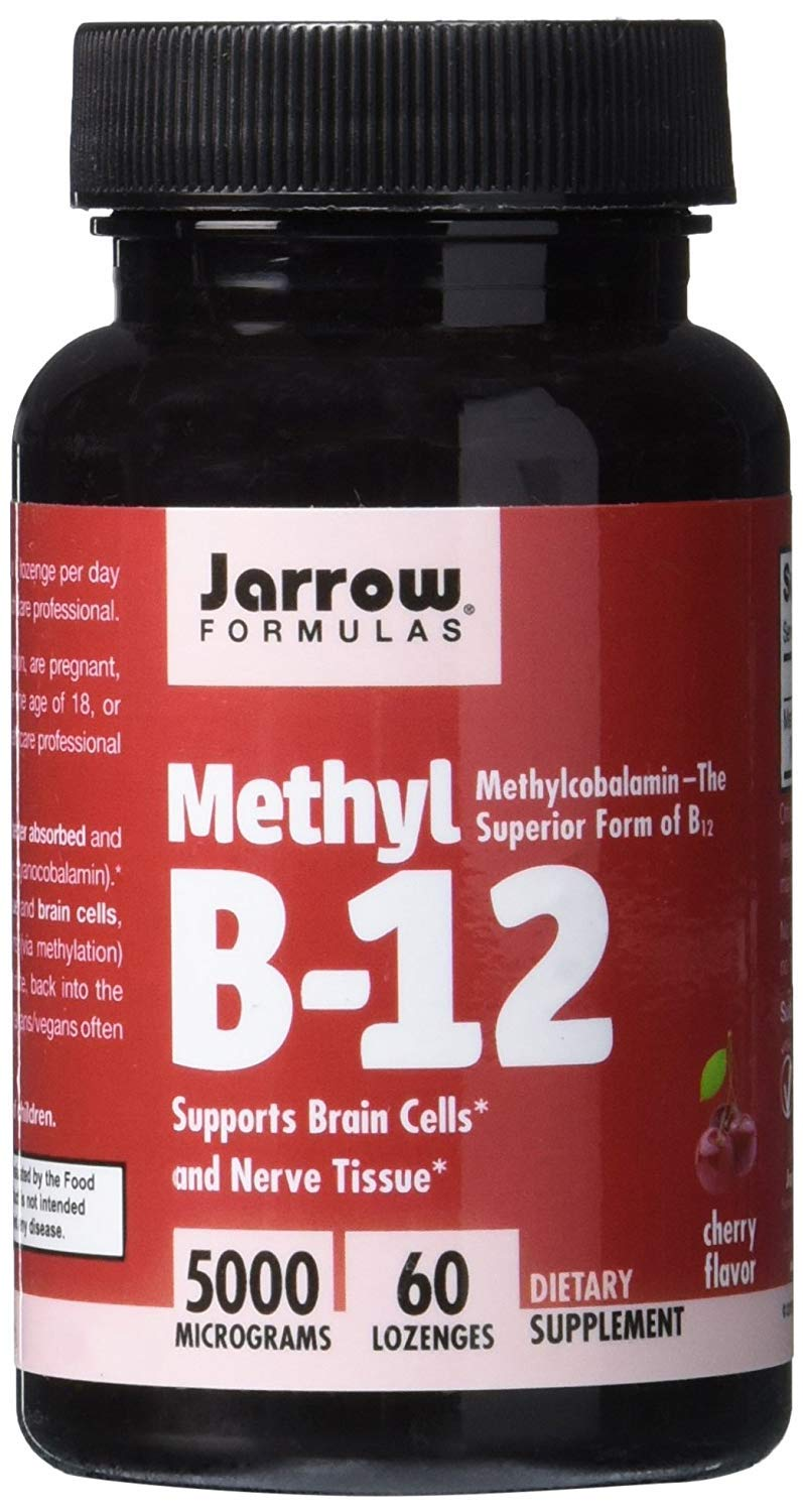 Jarrow Formulas Methylcobalamin (Methyl B12), Supports Brain Cells, 5000 mcg, Lozenges by Jarrow Formulas