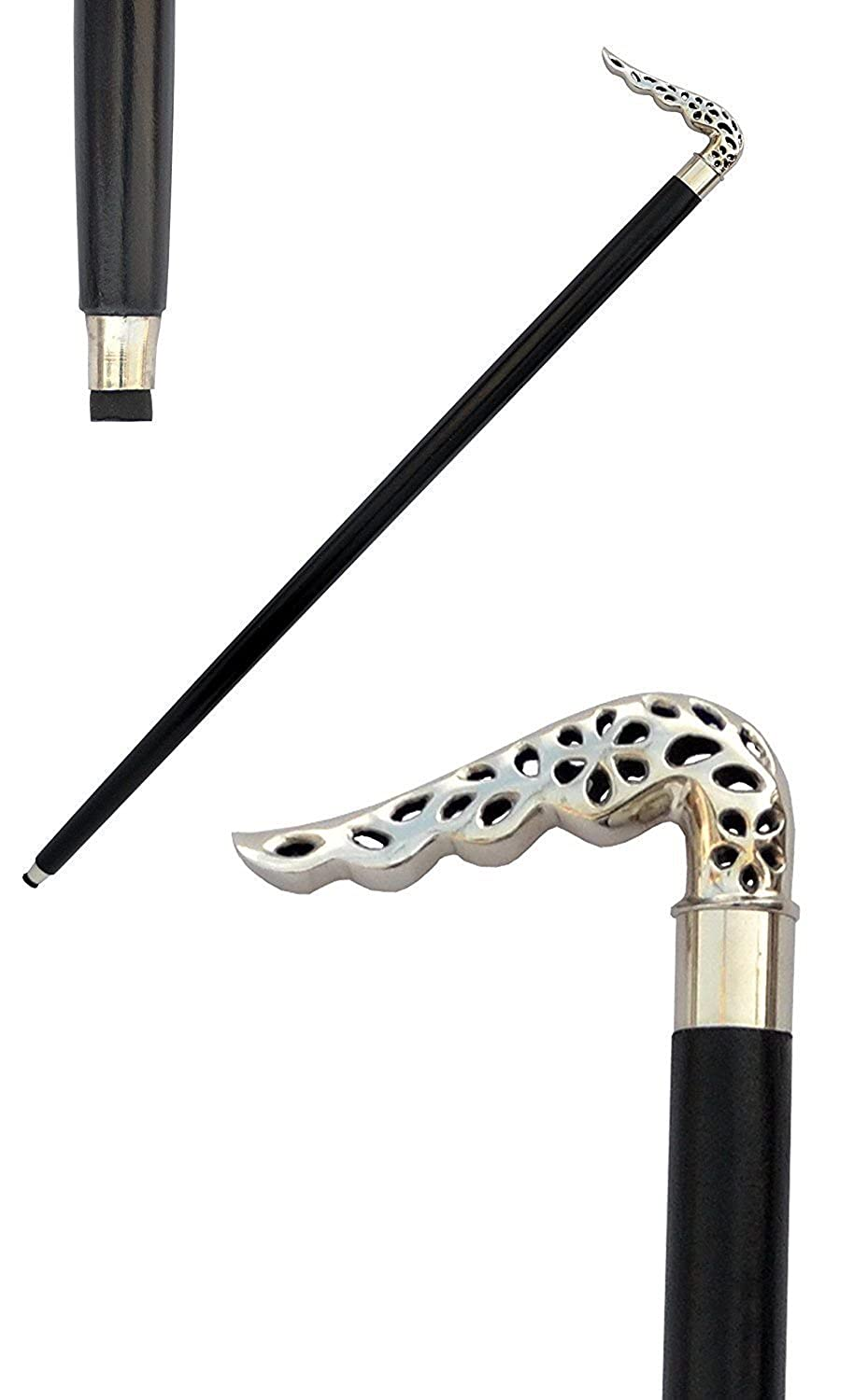 REPLICA MUSEUM Vintage Antique Style Silver Brass, Black Wood Victorian Walking Stick Cane