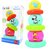Centel Baby Toy Balls Set - Stacking Balls with Rings Rainbow Tower Early Development Toys for Toddlers Kids