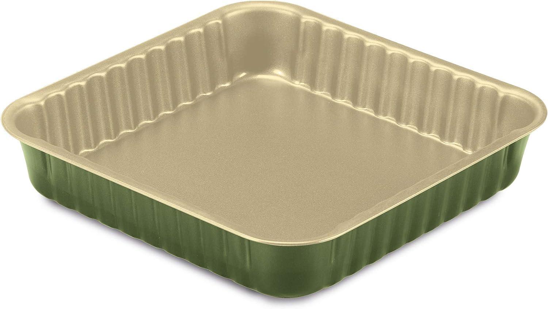 Guardini, Bnat, Molde para Horno Cuadrado, 24x24cm. Material: Acero con Revestimiento Antiadherente de Cera de Carnauba, Color Verde y Beige.: Amazon.es: Hogar