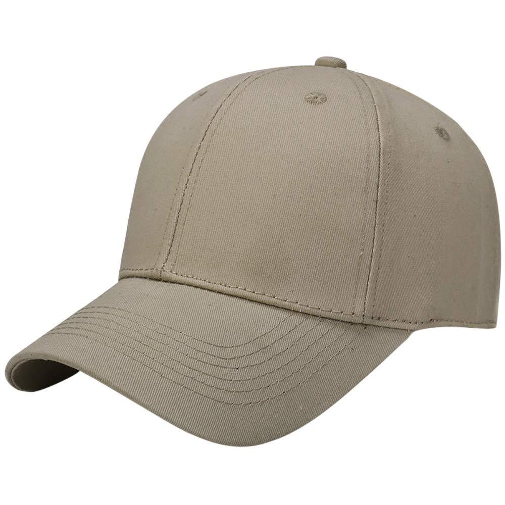 Toponly Solid Color Outdoor Sun Hat Cotton Adjustable Snapback Hats Men's Women's Hip-Hop Flat Bill Baseball Caps 56~60cm Khaki