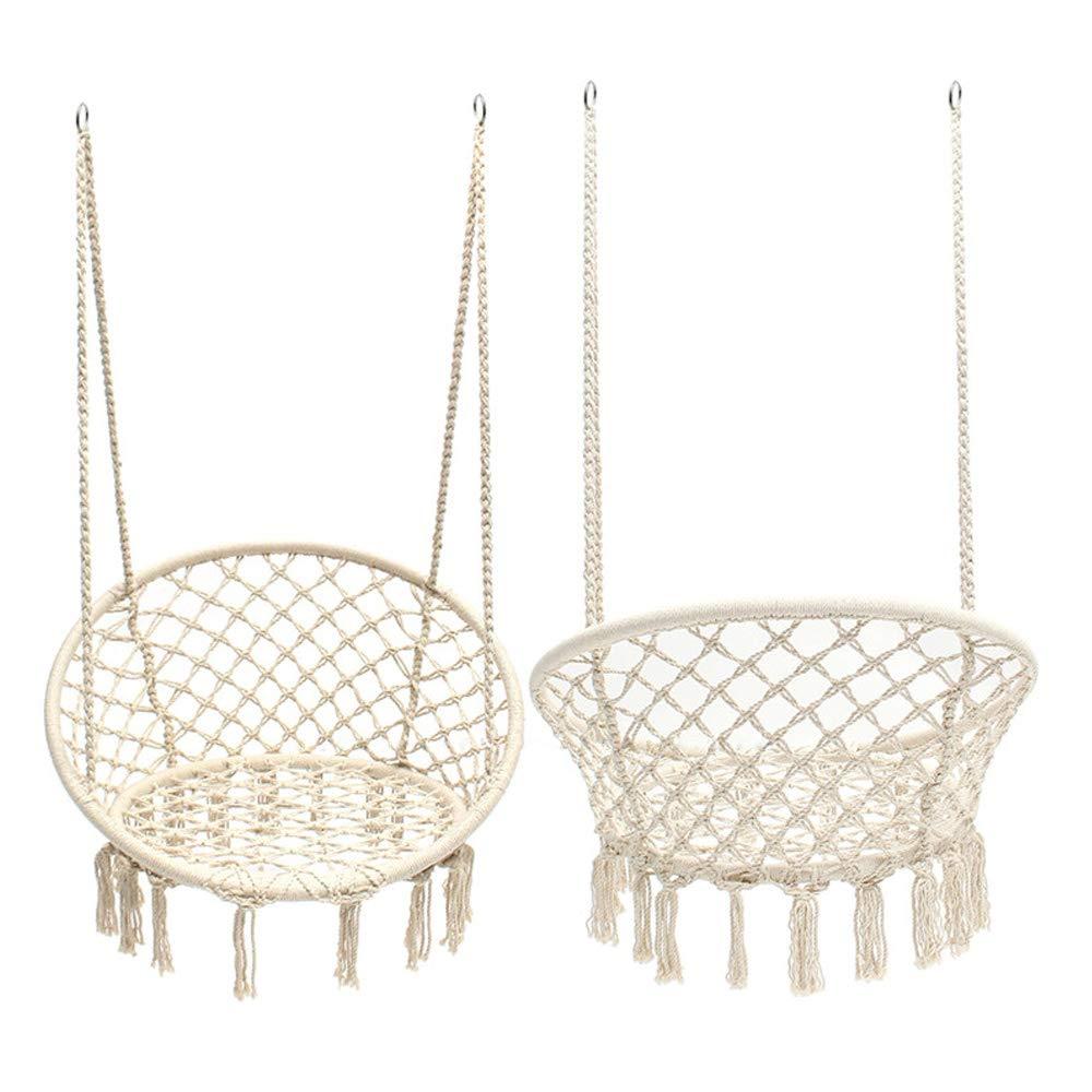 Taisheng Hammocks Chair Round Portable Rope Macrame White