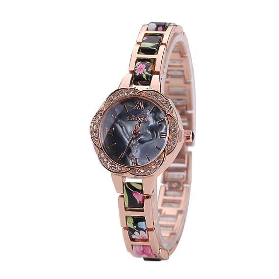 Poto 2017 nueva mujer moda shell flor Shap Full Diamond pulsera analógico cuarzo reloj de pulsera recargable: Amazon.es: Relojes