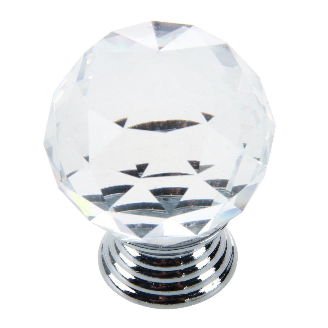 SODIAL(R) Clear Round Crystal Glass Cabinet Drawer Door Pull Knobs Handles 30mm