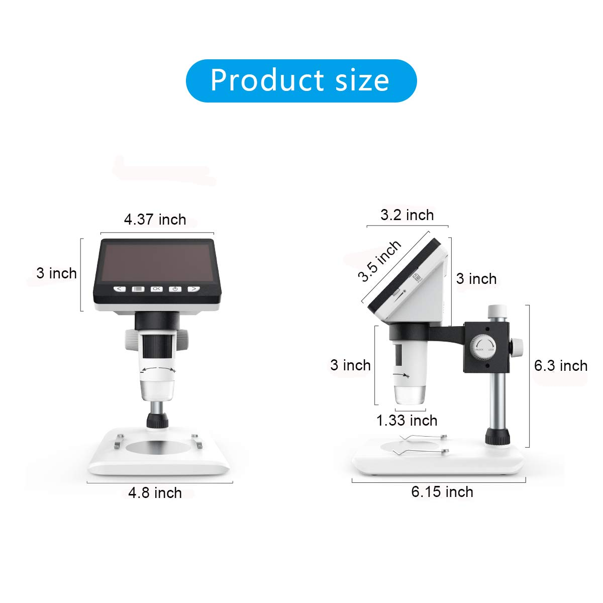 LCD Digital Microscope, SKYBASIC 4.3 inch 50X-1000X Magnification Zoom HD 1080P 2 Megapixels Compound Microscope 8 LED Adjustable LED Light Video Microscope by SKYBASIC (Image #5)