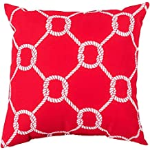 """Surya Contemporary Square pillow 26""""x26""""x5"""" (Poly Filler) in Red-Neutral Color From Rain Collection"""
