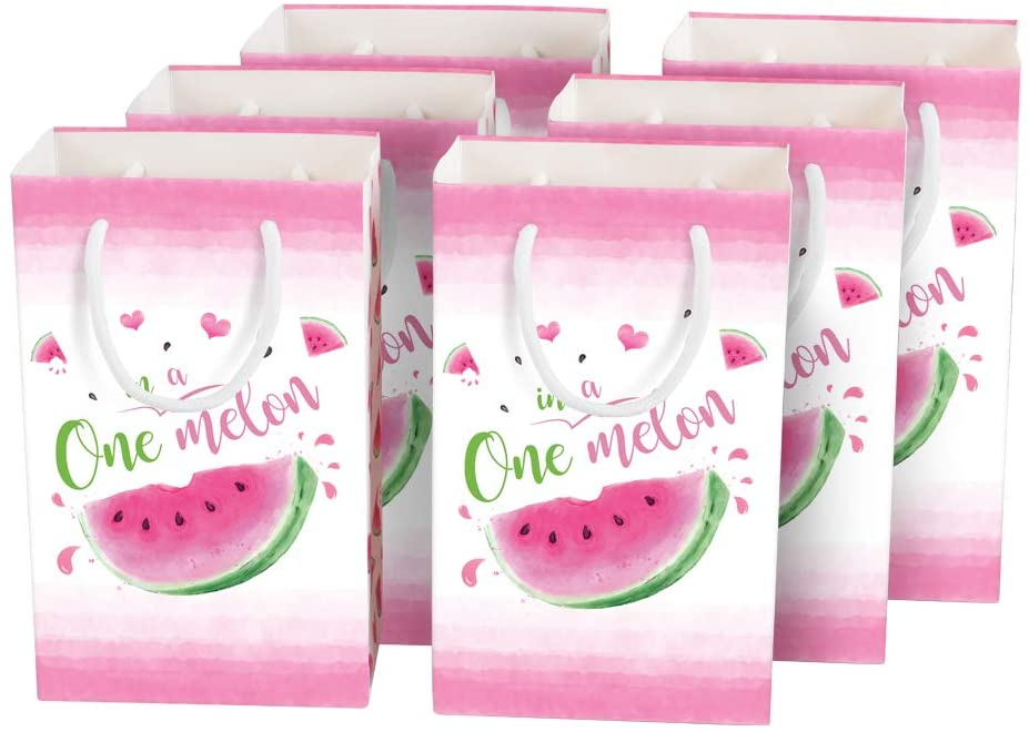 16 PCS Watermelon Theme Party Favors Pink Portable Goodies Candy Gift Tote Bags with Handles Girls Sweet Birthday Baby Shower Pool Beach Party Supplies WERNNSAI Summer Watermelon Party Bags