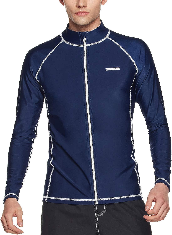 TSLA Men's Long Sleeve Zip Rash Guard, UPF50+ UV/Sun Protection Quick Dry Swim Shirts: Clothing