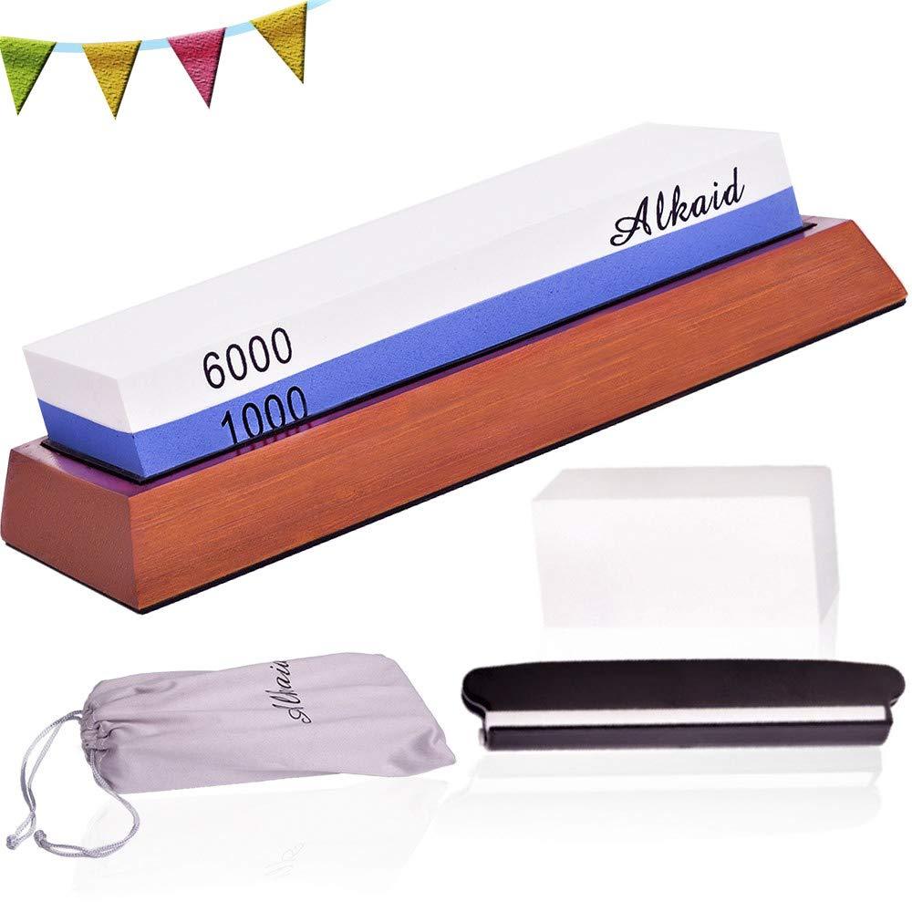 Sharpening Stone Set,Whetstone knife sharpener Kit 1000/6000 grit,Premium Wet stone non-slip base angle guide ftattening stone and bag