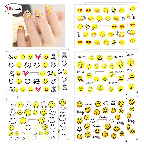 Konsait 10 Sheets Emoji Nail Art Nail Water Transfer Decal Sticker Manicure Decoration for Kids Girls Women Birthday Party Favors, Emoji Party Bag Fillers,Party Supplies -