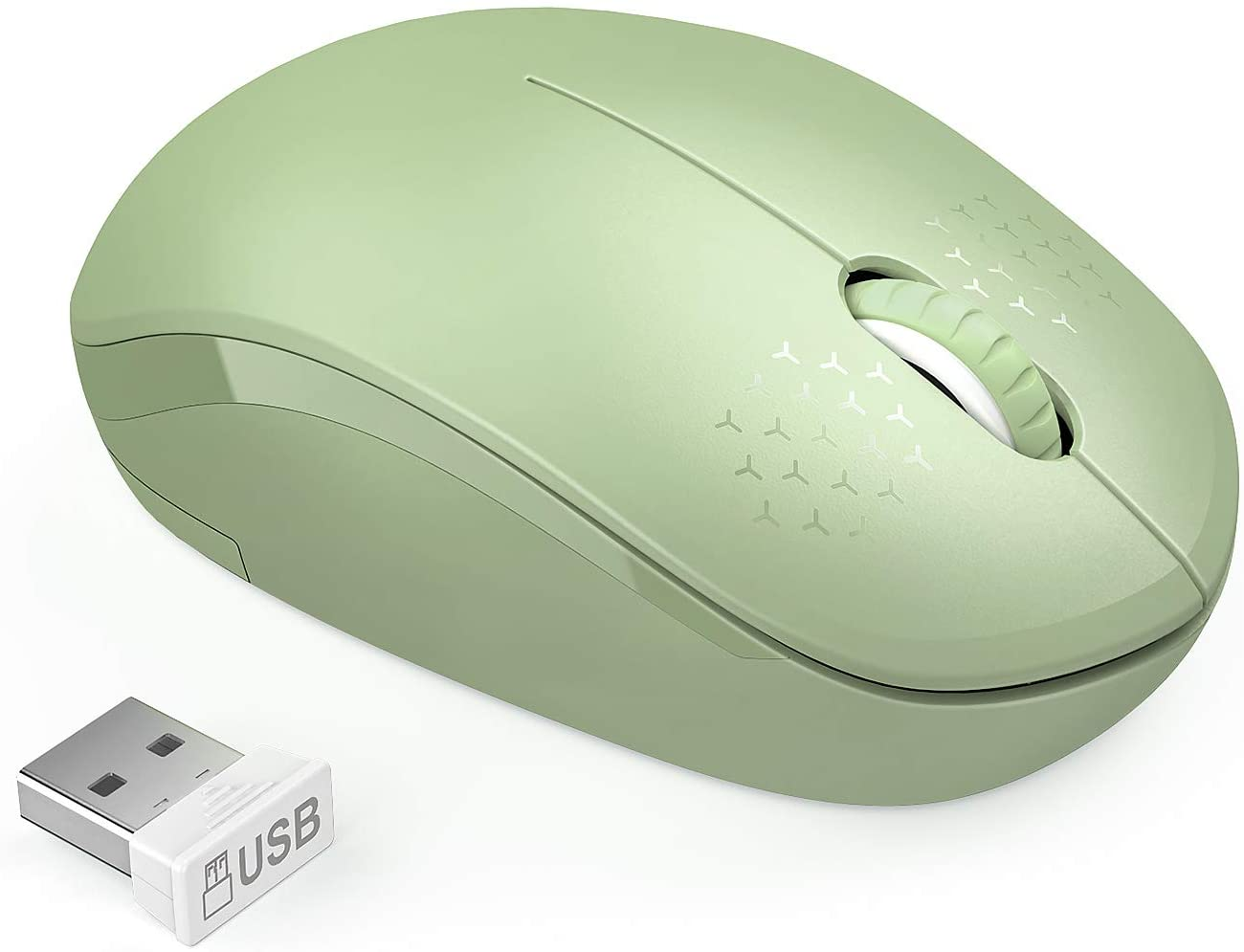 seenda Wireless Mouse, 2.4G Noiseless Mouse with USB Receiver Portable Computer Mice for PC, Tablet, Laptop with Windows System (Olive Green)