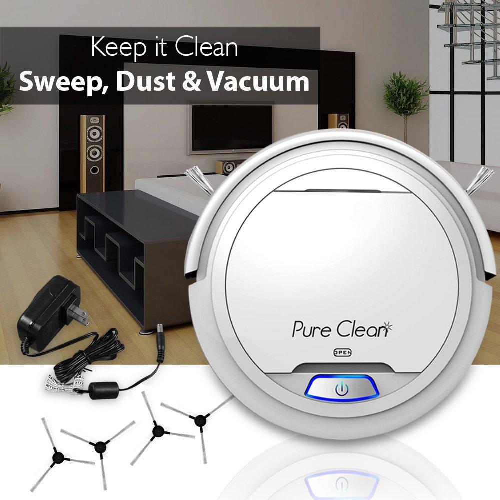 pureclean automática robot aspirador robótico - Auto hogar Limpieza para Limpiar alfombra suelos de madera - Bot Self detecta escaleras - Filtro HEPA pelo ...