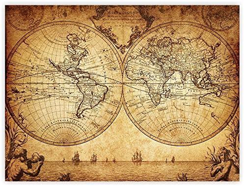 Papel pintado no tejido con diseño de mapa del mundo antiguo ...