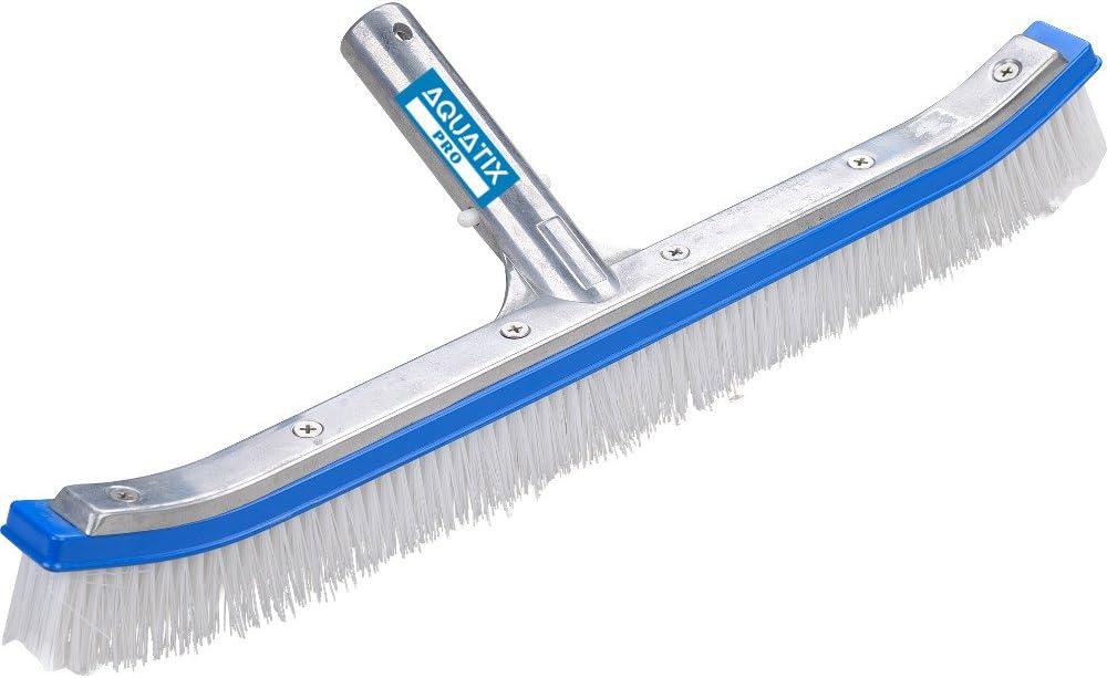 Cabezal de cepillo para piscina Premium, 45 cm, aluminio, cepillo de limpieza por Aquatix Pro con Clips EZ, para paredes, azulejos y suelos, diseño elegante y cerdas resistentes