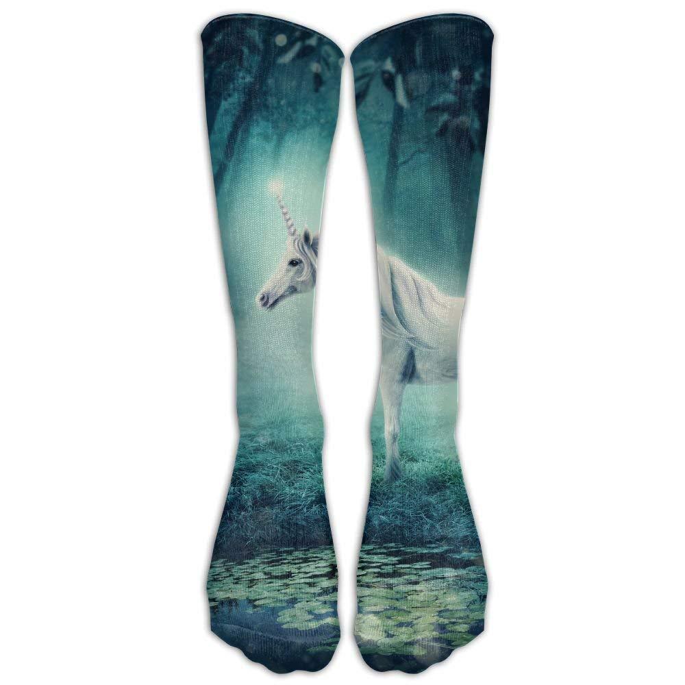 FUNINDIY White Unicorn in A Dark Forest Athletic Tube Socks Women Men High Socks Crazy Socks