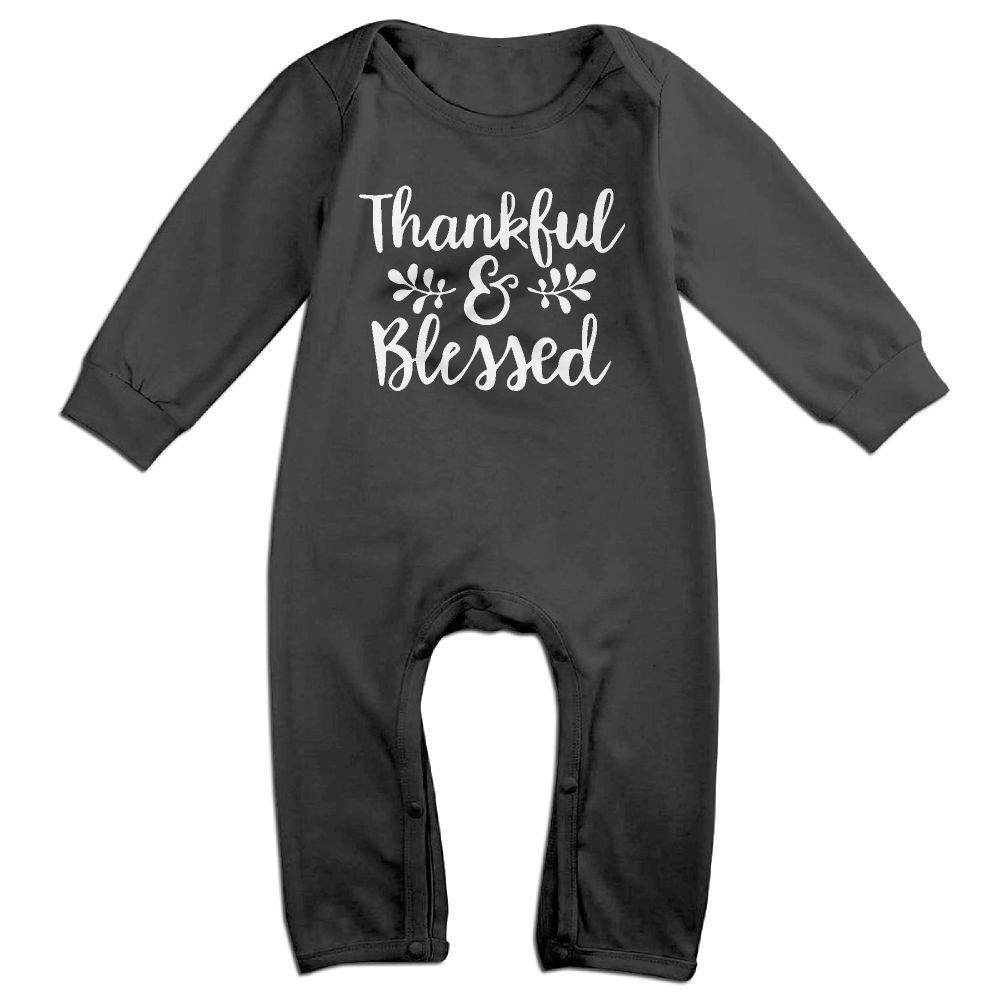 Mrei-leo Baby Girl Coverall Thankful Blessed-1 Infant Long Sleeve Romper Jumpsuit