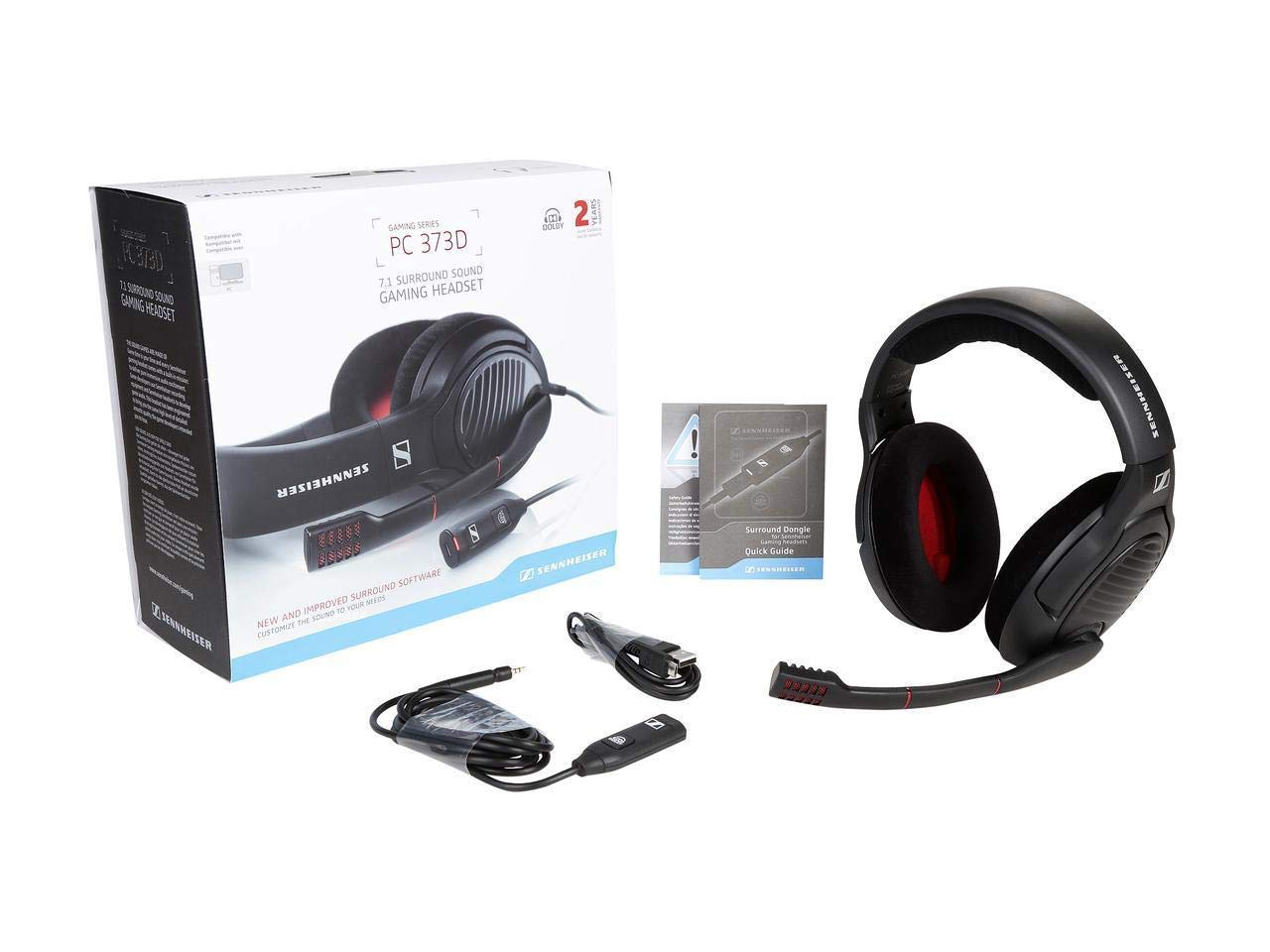 19af735b887 Sennheiser PC 373D 7.1 Surround Sound Gaming Headset - Black/Red:  Amazon.co.uk: Computers & Accessories