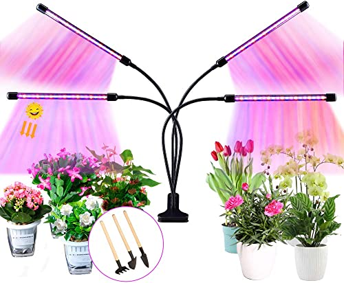 Grow Lights for Indoor Plants, Upgrade 80 LED Lamp Bulbs Sunlike Plant Lights- 4 Head Gooseneck Full Spectrum Growing Lamp for Plants Growth with 3 9 12H Timer, 10 Dimmable Levels, 3 Switch Models