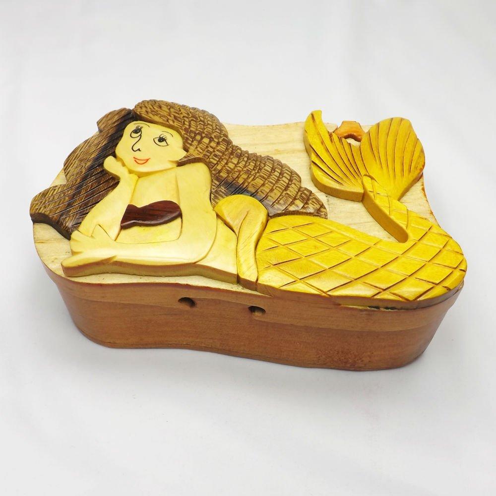 Coastal Wood Factory Handmade Art Intarsia Wooden Puzzle Box CoastalWoodFactory Mermaid 344