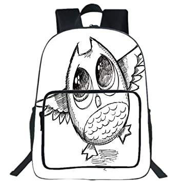 Amazon Com Iprint 19 Large Casual Backpack Doodle Sad Owl Almost