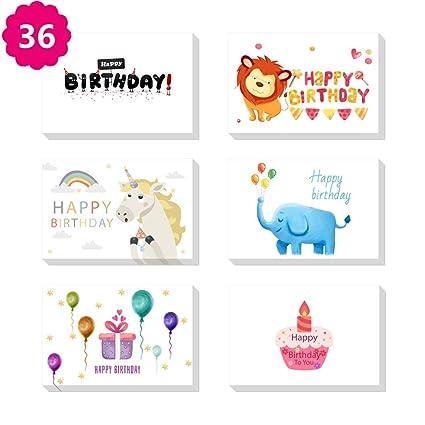 Juego de 36 tarjetas de cumpleaños de Morkka, 6 diseños de ...