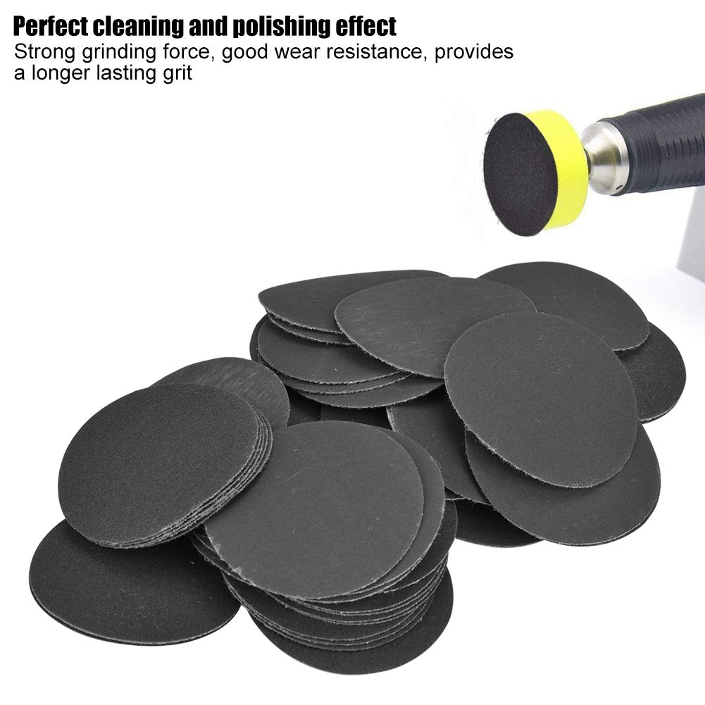 50pcs Hook and Loop 50mm Sander Disc Sanding Polishing Paper Pads Abrasive Sandpaper for Grinding and Polishing 400# Grit Sanding Paper